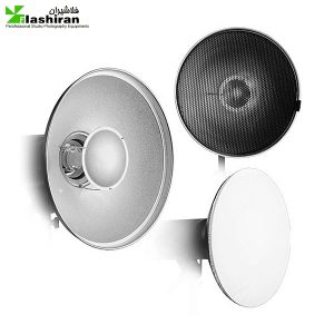 butydish 1 300x300 - بیوتی دیش همراه گرید و پخش کننده ی نور داخل نقره ای (۵۵cm)