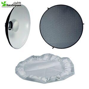 butydish 2 300x300 - بیوتی دیش همراه گرید و پخش کننده ی نور داخل سفید (۴۲cm)