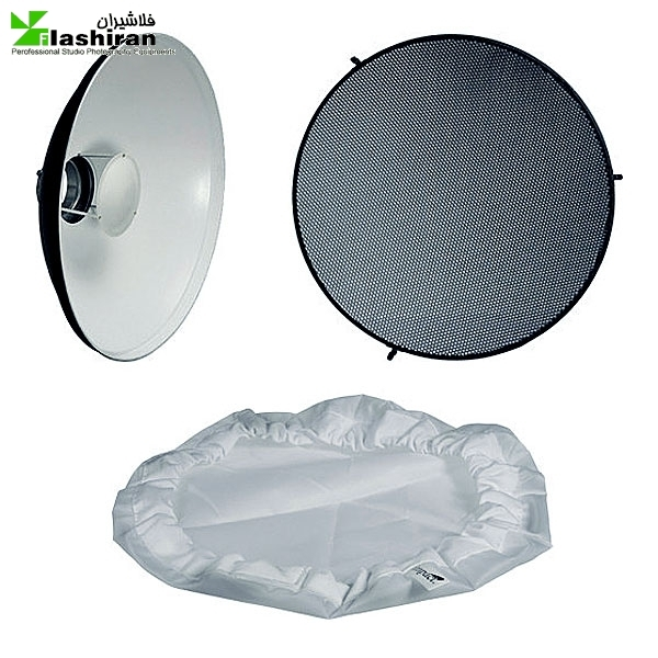 butydish 2 600x600 - بیوتی دیش همراه گرید و پخش کننده ی نور داخل سفید (۵۵cm)