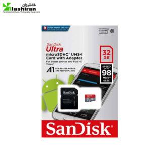 کارت حافظه microSDXC سندیسک  ۳۲ گیگ با گارانتی ایران رهجو