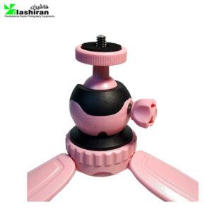 سه پايه عکاسي بيک(صورتی) Beike Q166 Mini Tripod-Pink+هولدر موبایل